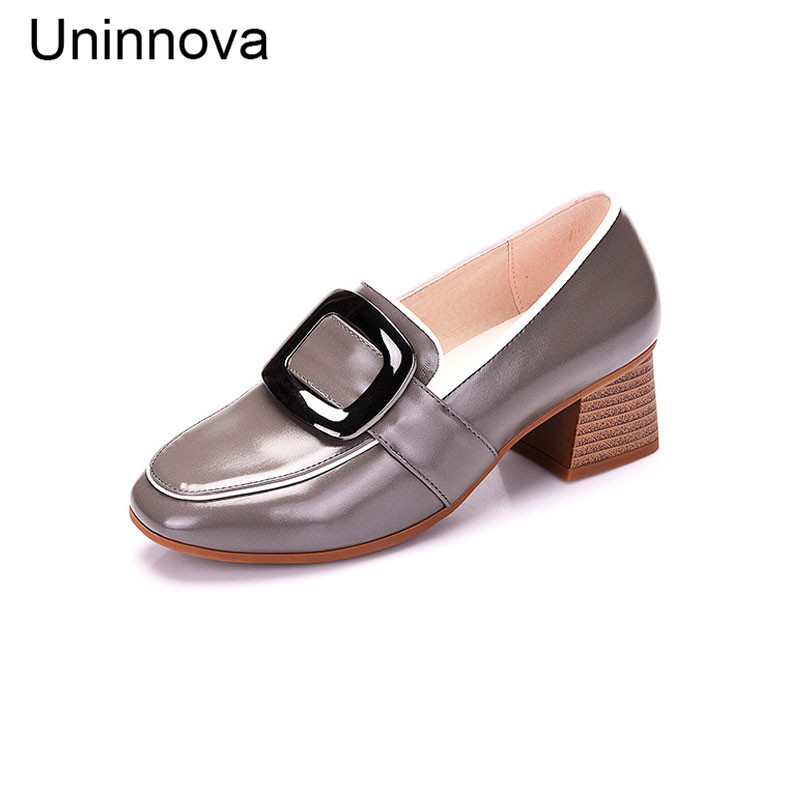 Women S Microfiber Glossy Patent Leather Fashion Buckle Med Heels Pumps Black Green Gray Color Shoes