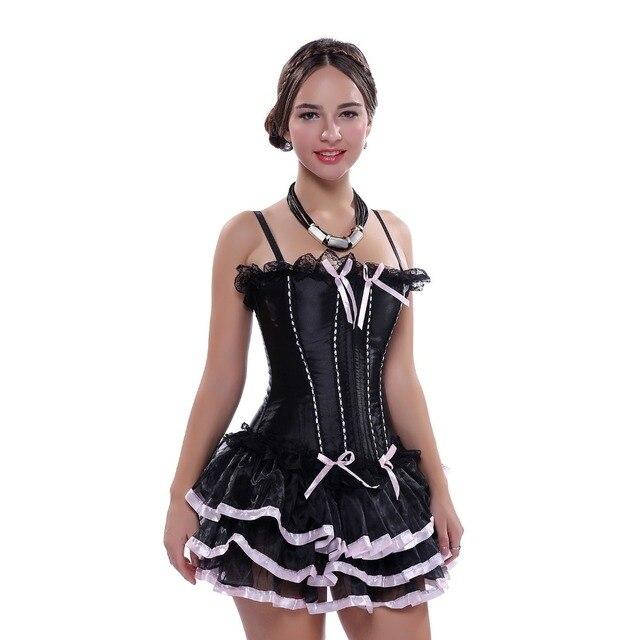 Women Black Corset Dress Sexy Lace up Boned Straps