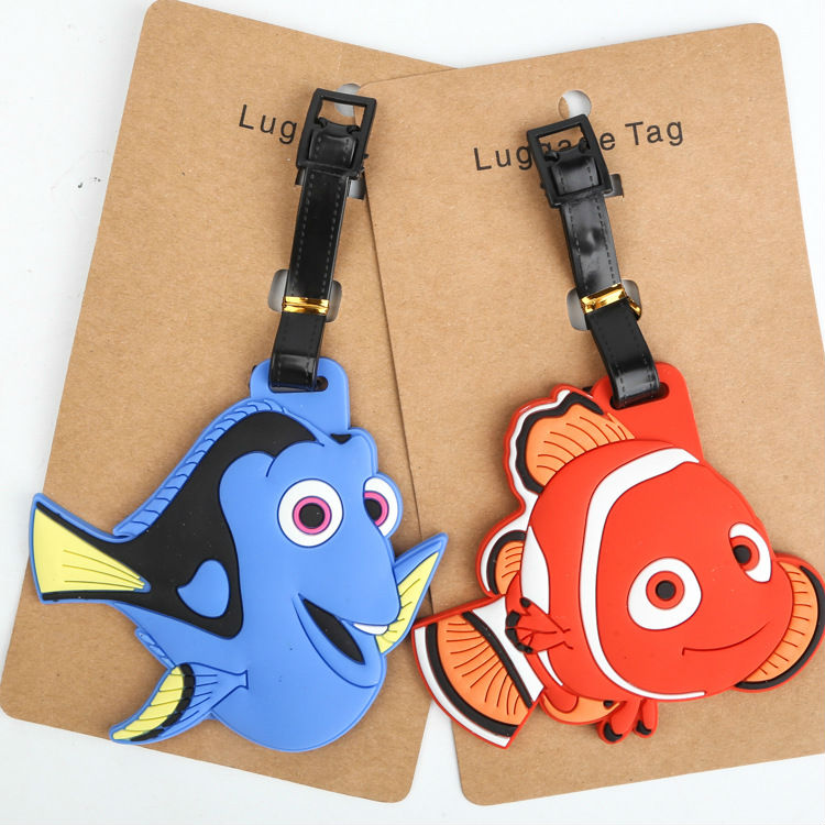 2 pcs/lot Finding Dory figures luggage tag anime Dory Nemo PVC cute bag pendants cartoon suitcase decoration free shipping