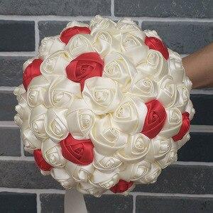 Image 4 - Wifelai Un Super Buona 100% Del Nastro Del Fiore Handmade Bouquet da Sposa Bouquet da Sposa Avorio Boque Noiva Accettare La Vostra Idea Custom W223 1