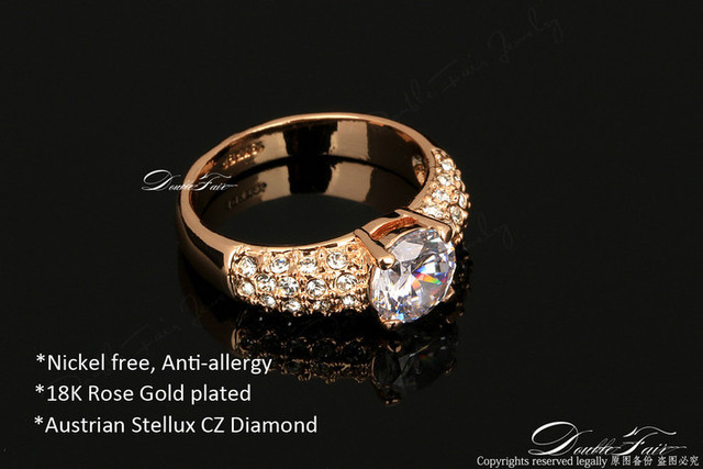 Women Rose Gold Plated CZ Diamond Fashion Rhinestone Wedding Engagement Ring