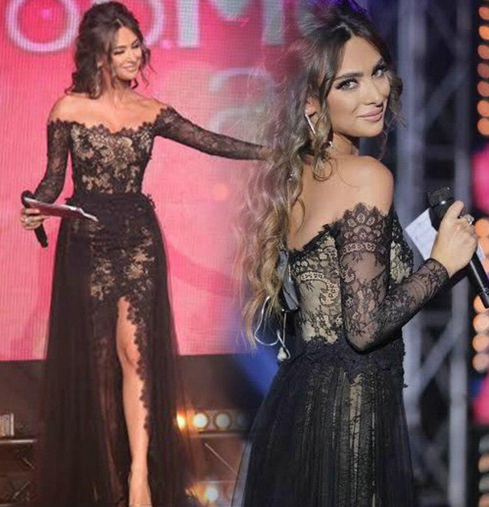 kaftan fashion black lace evening dresses boat neck long sleeves ...