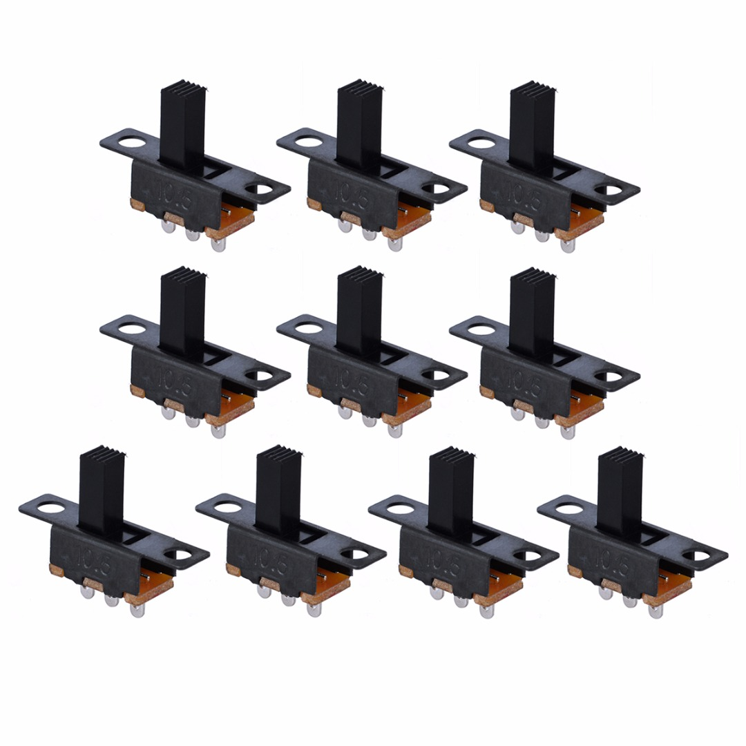 10pcs Black Small SPDT Switch Durable ON-Off Miniature Slide Toggle Switches DIY Power Electrical Component 100V 2A Mayitr line art
