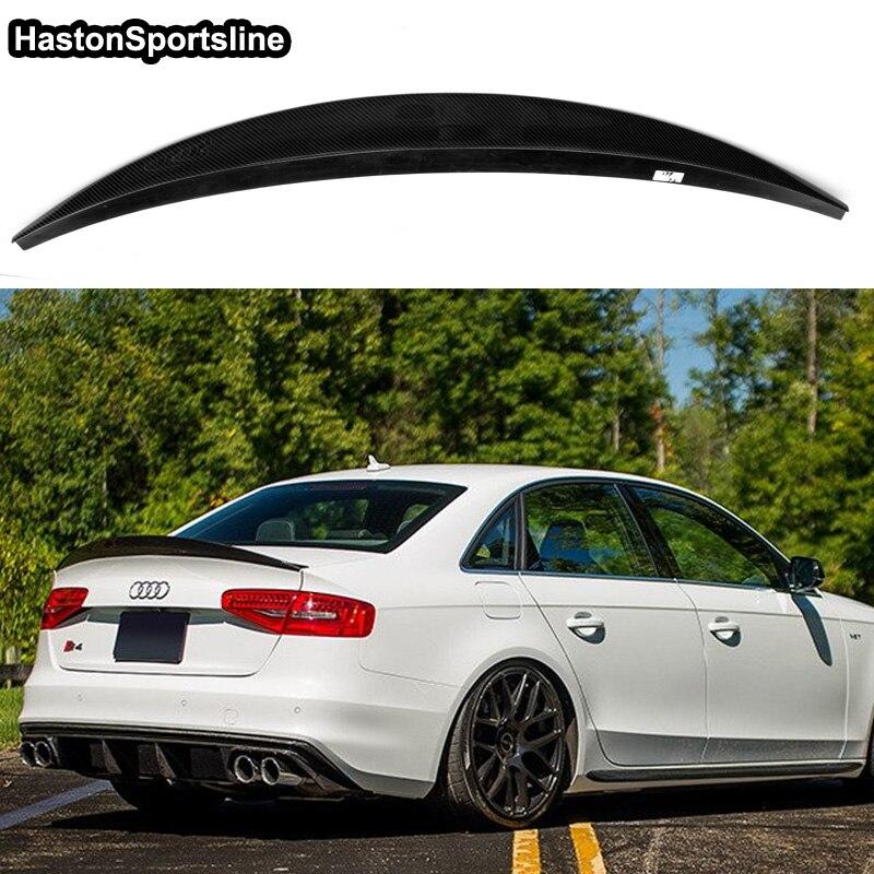 For Audi S4 B8 5 Sedan 2013 2016 Carbon Fiber Trunk Spoiler Wing HK Style