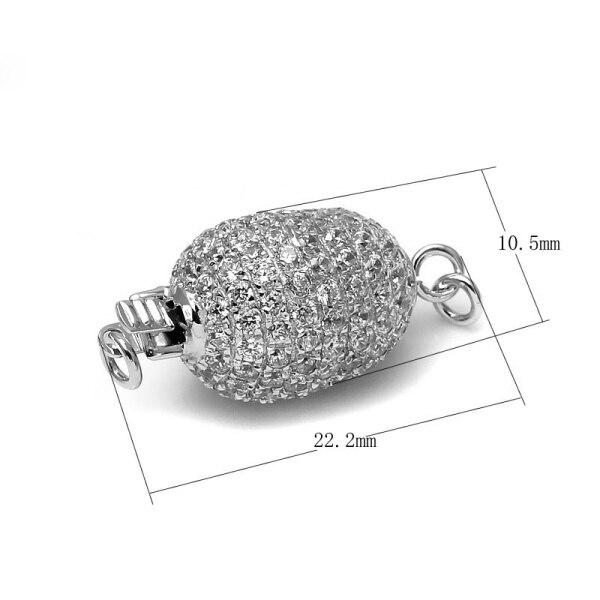 Haute qualité ovale Micro Pave CZ Zircon 925 en argent Sterling boîte fermoir connecteur perle bijoux fins résultats accessoires SC-BC240 - 2