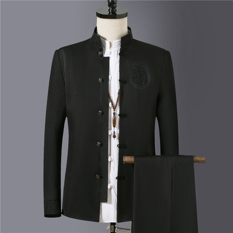2019 High-grade Black Stand Collar Suit Men Business Banquet Party Mens Blazer Jacket And Pants Slim Fit Male Embroidered Suits