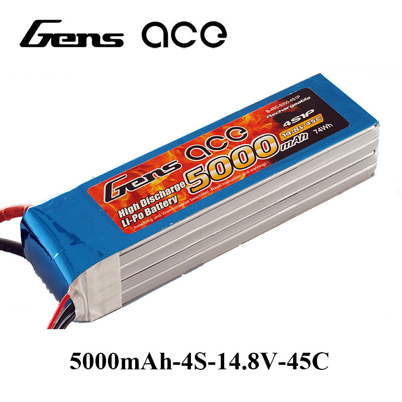 Gens ace Lipo Battery 14.8V 5000mAh Lipo 4S Battery Pack 45C EC5 Plug Batteries for RC Plane Helicopter Quadcopter FPV Drone gens ace lipo battery 7 4v 11 1v 800mah lipo 2s 3s 15c rc quadcopter t connector for fixed wing 250 helicopter jst plug
