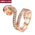 Top Quality ZYR149  Snake Show Bead Ring  Gold Plated  Austrian Crystals Full Sizes Wholesale