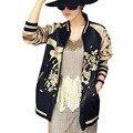 Женщины Винтаж Вышивка Птица Феникс Цветы Куртка Повседневная Два Боковых Износ Бейсбол Пальто Золотой Пилотов Бомбардировщика Пиджаки YN-4256