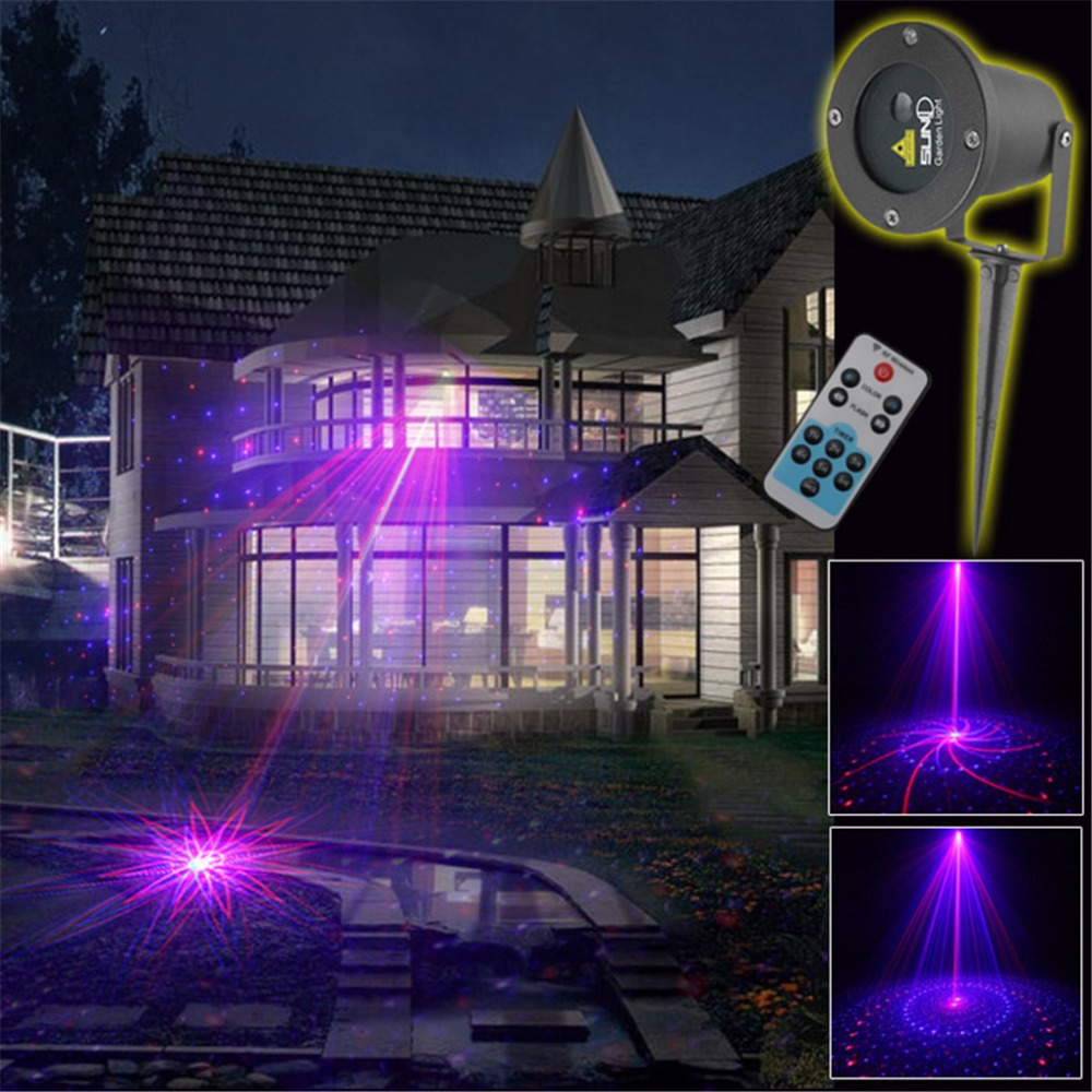 IR Remote 2 Lens 9 Gobos Red Blue Laser Outdoor / Indoor Projector Lights Landscape Garden Home Party Xmas Lighting GOF-09RB rg mini 3 lens 24 patterns led laser projector stage lighting effect 3w blue for dj disco party club laser