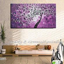 Ручная роспись Современный домашний декор стены Искусство картина белый цветок фиолетовый Цвет Толстая палитра нож картина маслом холст 40X80 см