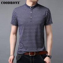 COODRONY T Shirt Men 2019 Summer New Streetwear Casual T-Shirt Men Soft Cool Mandarin Collar Short Sleeve Tee Shirt Homme S95072 casual drawstring mandarin collar t shirt
