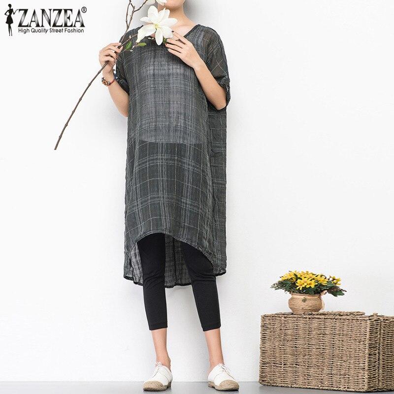 2018 Summer ZANZEA Women Dress O Neck Bat Sleeve Loose Plaid Sundress Maxi Dresses Irregular Vestido Transparent Long Blusas 5XL