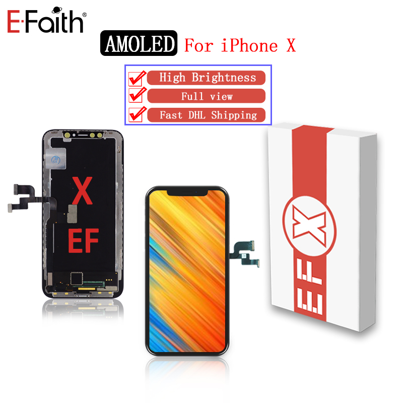 2piece EFaith AAA quality for iPhone X XR lcd Amoled with full view high brightness display