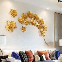 Оригинальное Украшение стен 3D кованого железа золото Магнолия стены задний план настенной стикеры украшения дома интимные аксессуары R719