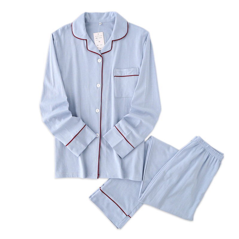 Pure color 100% cotton pajamas set autumn new set couple pyjama winter woman pyjamas long-sleeve home clothes women