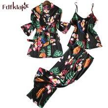 Fdfklak Pajamas For Women Faux Silk Pajamas 2018 Spring Summer Floral Pyjama Femme Pijama Mujer Sleepwear