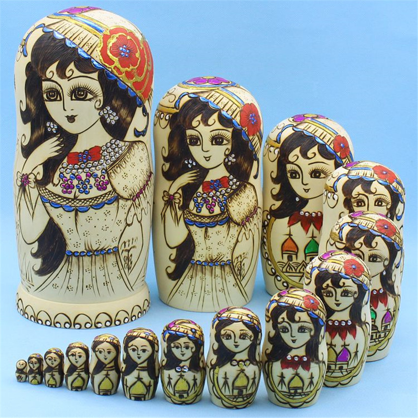 Top Grade 15 Layer Dry Basswood Russian Dolls Ethnic Handicrafts Education Toys Wooden Matryoshka Dolls Nesting L30