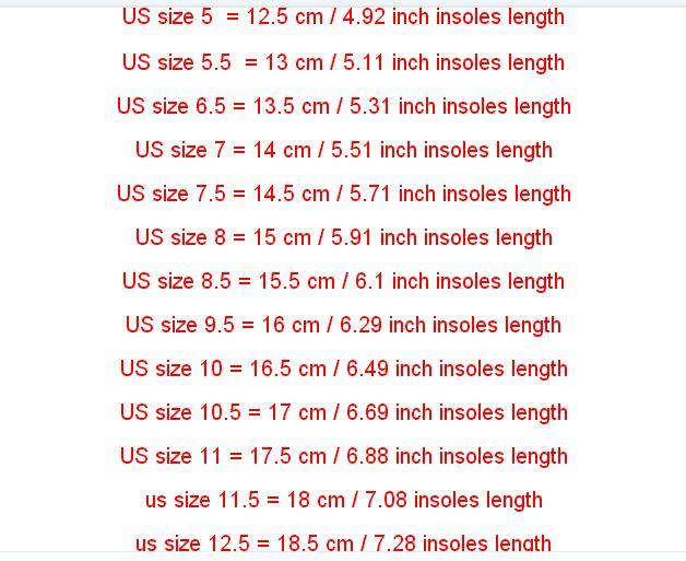 shoe size for 5 years old girl