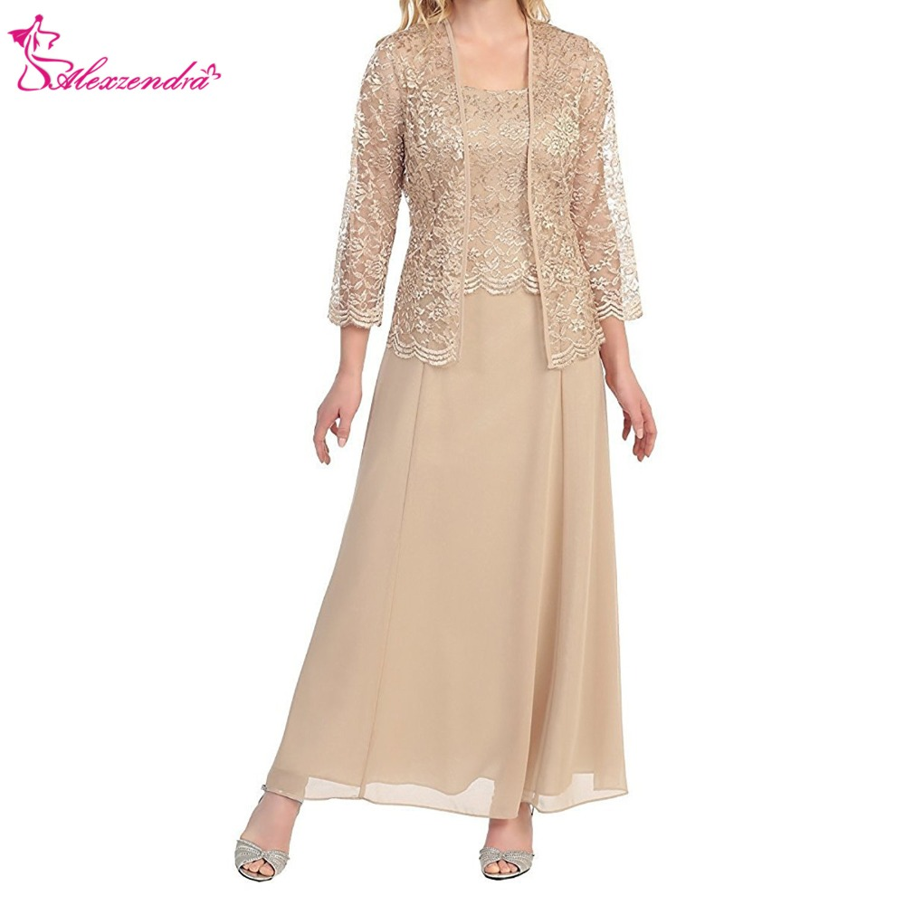 Alexzendra Tea Length Chiffon Champagne Mother of Bride Dress with Lace Jacket Elegant Prom Dress Plus