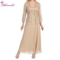 Alexzendra Tea Length Chiffon Champagne Mother of Bride Dress with Lace Jacket Elegant Prom Dress Plus Size Party Dresses