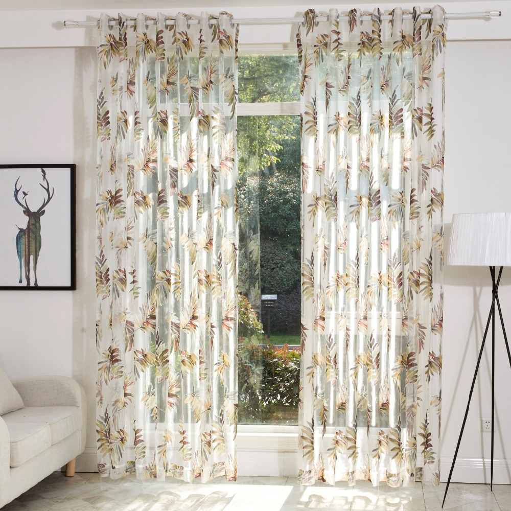 DSinterior natural style burnout sheer curtain for living room-in ...