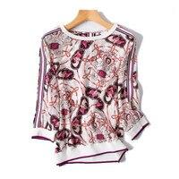 Чистый шелк Oneck вязать Женская мода печатных свободные футболки сзади/плеча однобортный Половина рукава rose red one и более размер