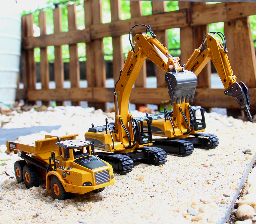 1:50 Alloy Construction Vehicle Engineering Excavator Car Dump-car Dump Truck Model Diecast Toys For Children Gift With Box