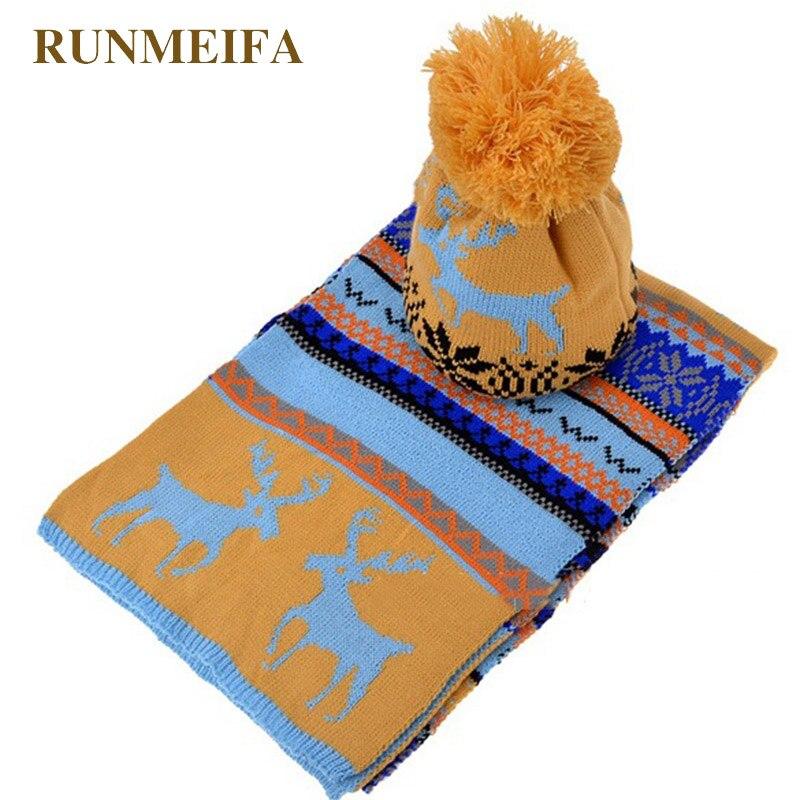 RUNMEIFA New Fashion Scarf,Hat & Glove Sets For Women Christmas Elk Snowflake Warm Sets Student Acrylic Warm Three-piece Sets