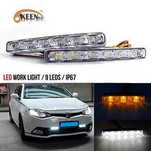 OKEEN Car Stylin white yellow Car DRL Turn Signal Indicators +Auto Daytime Running Lights