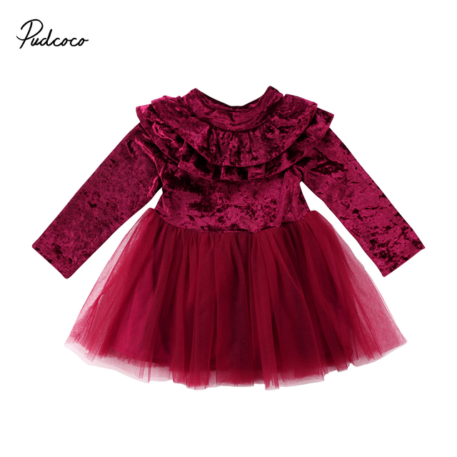 Lovely Princess Kids Baby Girl Velvet Dress solid Ruffle wedding Bridesmaid  Gown clothes long sleeve Tulle Tutu Party Dress 2018 88b7c244630f