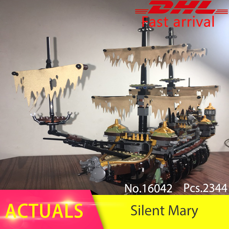 Lepin 16042 2344pcs Movie series Silent Mary Building Blocks Bricks Toys For Children Compatible legoing Pirates Caribbean 71042 lepin 16042 pirates of the caribbean ship series the slient mary set children building blocks bricks toys model gift 71042
