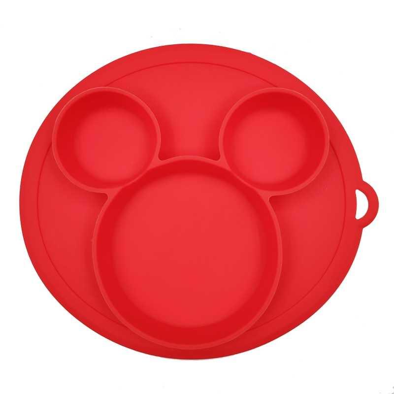 Placa de Jantar Sólido de Silicone Segura bebê Crianças Bonitos Dos Desenhos Animados Pratos Talheres Treinamento Toddle Crianças Bacias de Alimentação de Sucção