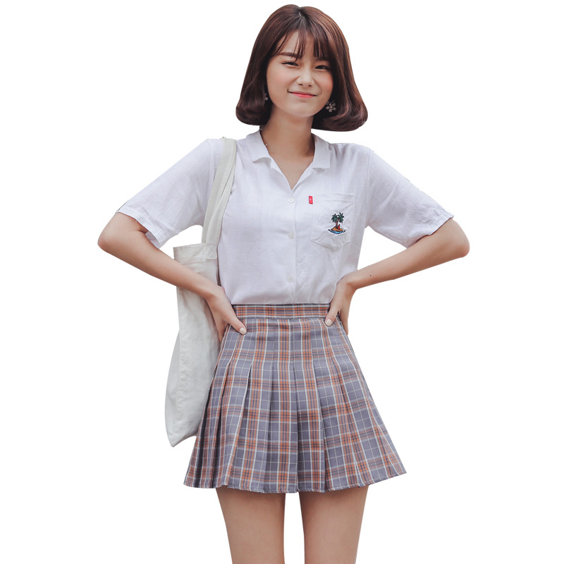 Preppy Style Spring Summer Plaid Mini Skirts Women All Match High Waist Slim Pleated Skirt Student Sweet Elegant Chic Saias