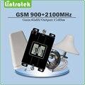 Doble Pantalla LCD de Refuerzo de Doble Banda GSM 900 MHz + WCDMA UMTS 2100 MHz Teléfono Móvil Repetidor de Señal con LPDA/techo de la Antena y el cable