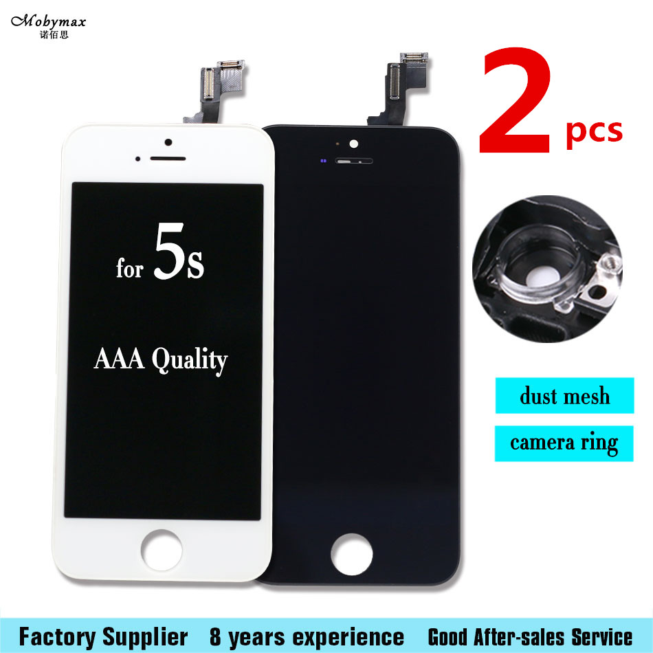2pcs For IPHONE 5S LCD Black White Display Touch Screen Front Glass Digitizer Glass assembly with Free 5 piece Toolkits