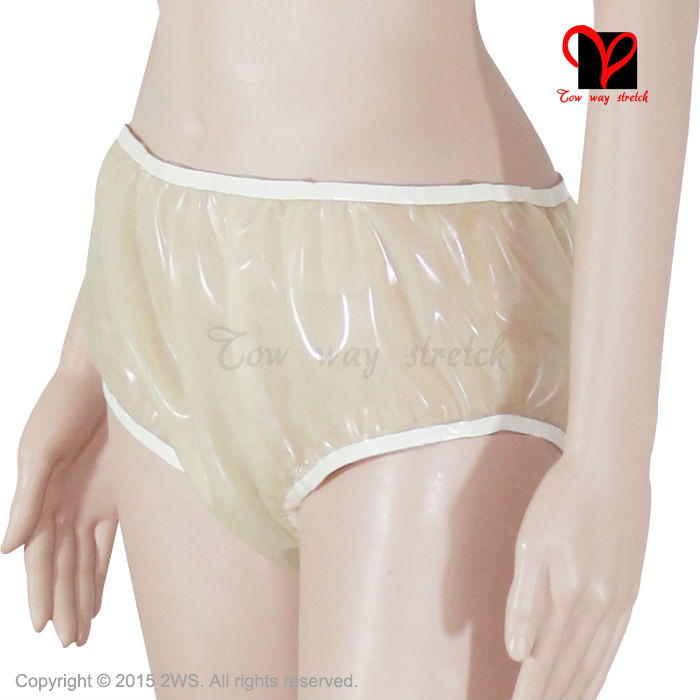 Transparent Rubber Latex Pants Loosely bloomers Rubber Underwear panty Briefs shorts undies Sexy smocking thong shorts