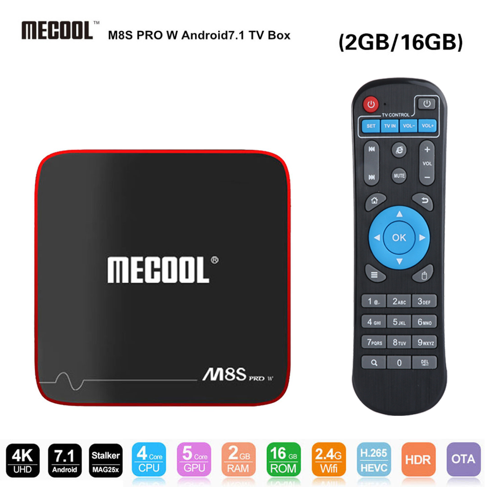 цена на MECOOL M8S Pro W Android Smart TV Box Amlogic S905W Android 7.1 2GB RAM + 16GB ROM 2.4G WiFi 100Mbps Support 4K H.265 TV Center