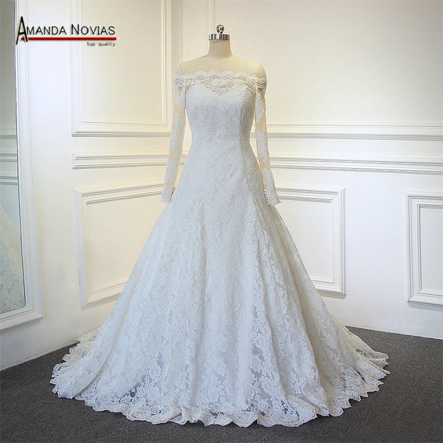 Charming New Model Off Shoulder Amanda Novias Long Sleeve Lace Wedding Dress 2017