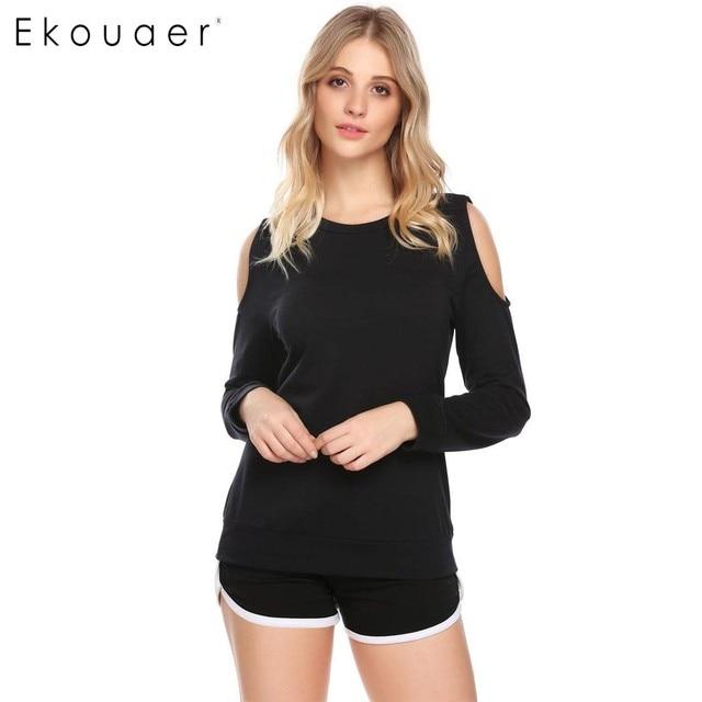 a92d052e6d Ekouaer Sexy Pajamas Top Women Long Sleeve Cold Shoulder T-Shirt Sleepwear  Nightwear Female Casual Sleeping Wear Gray Black