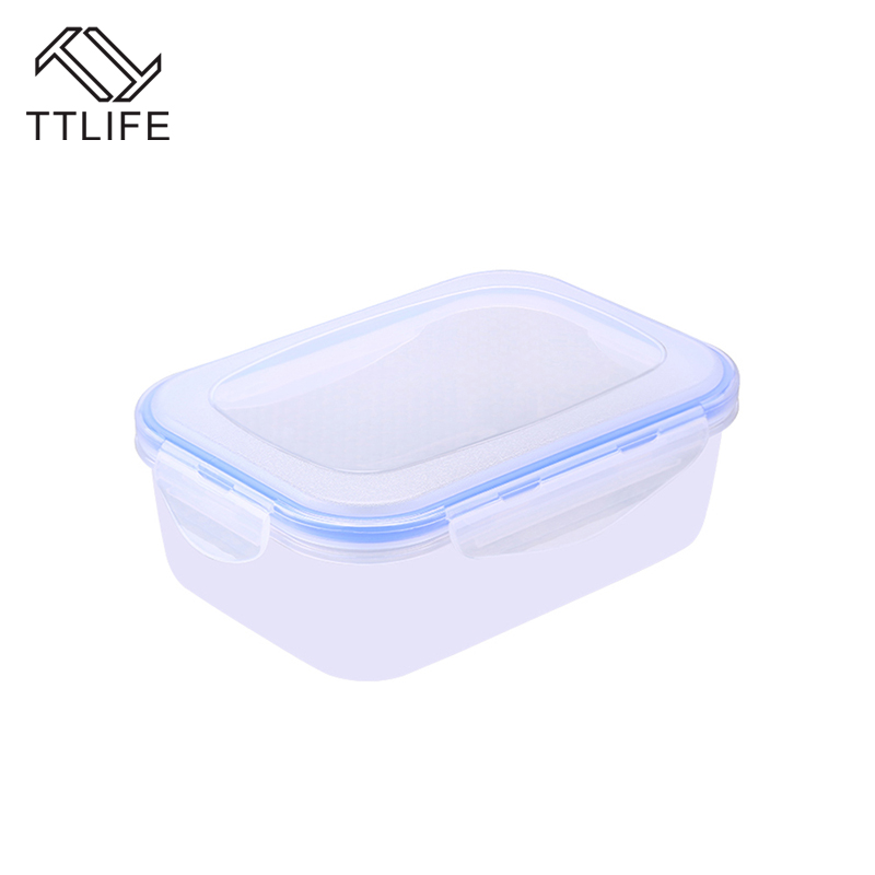 TTLIFE 2017 New Hight Quality For 3 Size Plastic Kitchen Food Storage Container Fruit Crisper Box Microwave Safe Bento Lunch Box