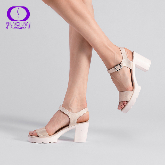 6e0a8489867e Fashion Ankle Strap Buckle Women Sandals High-heeled Open Toe Thick  Platform Summer Shoes Big
