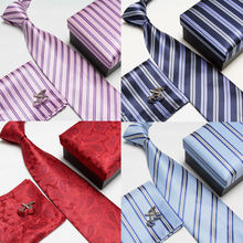 Male formal commercial marriage tie cufflinks pocket towel gift box 4 set white collar 1201