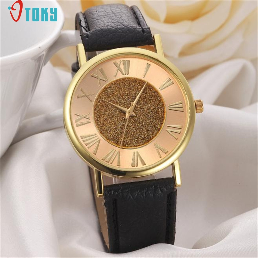 Relogio Feminino Newly Design Women's Fashion Glitter Roman Dial Leather Band Analog Quartz Wrist Watch DEC12 rigardu fashion female wrist watch lovers gift leather band alloy case wristwatch women lady quartz watch relogio feminino 25