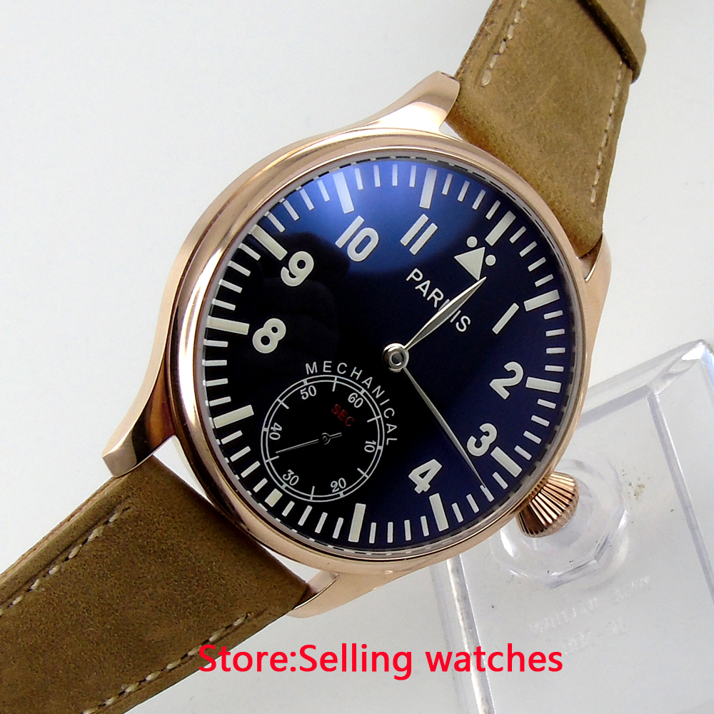 44mm parnis Rose Gold case black dial blue luminous 6498 movement hand winding mens watch 44mm parnis black dial luminous marks seagull 6498 hand winding mens watch