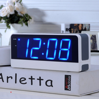 Electronic Alarm Clock Student Children Snooze Old Man Seat Bell Mute Luminous Bedside Clock LED Big Screen Digital