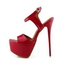 New Style Sexy Buckle Women Super High Heels Ladies Fashion Pointed Toe Platform Thin Heels Sandal Stilettos Wedding Party Shoes