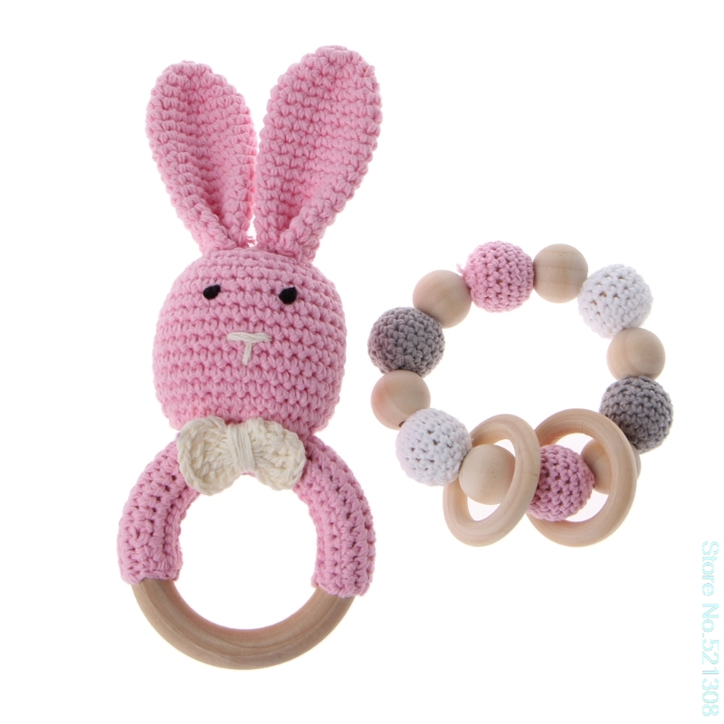 2Pcs/Set Baby Wooden Teether Bracelet Crochet Bunny Teething Ring Chewing Toy Dr