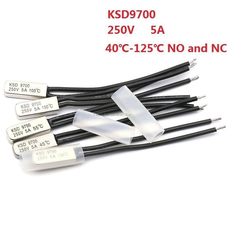 5pcs-ksd9700-250v-5a-bimetal-disc-temperature-switch-n-o-thermostat-thermal-protector-40~135-degree-centigrade