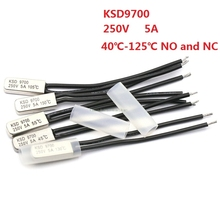 цена на 5PCS KSD9700 250V 5A Bimetal Disc Temperature Switch N/O Thermostat Thermal Protector 40~135 degree centigrade